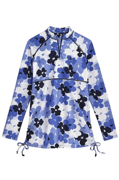 KIDS LAWAI RUCHE SWIM SHIRT BLOOMING FLOWERS