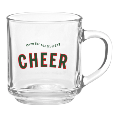 HERE FOR THE HOLIDAY CHEER GLASS MUG