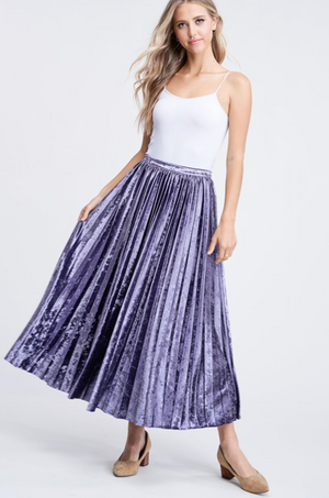Load image into Gallery viewer, PLEATED VELVET MIDI SKIRT