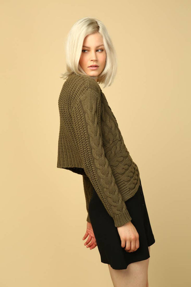 VANESSA ASYM CABLE KNIT SWEATER