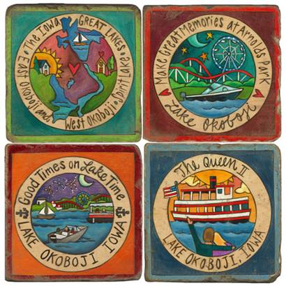 STICKS LAKE OKOBOJI COASTERS SET OF 4