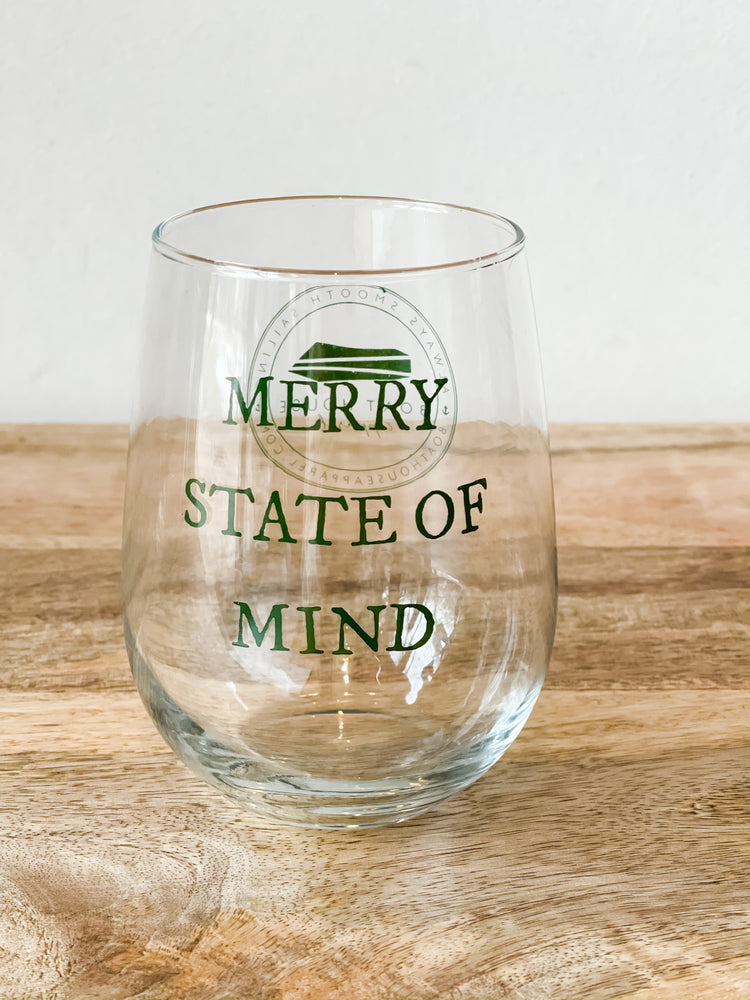 MERRY STATE OF MIND STEMLESS WINE GLASS