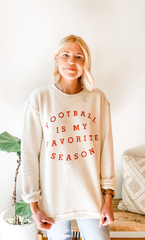 Load image into Gallery viewer, FOOTBALL IS MY FAVORITE SEASON SWEATSHIRT WHITE/RED