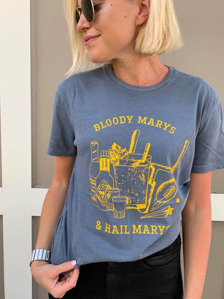 Load image into Gallery viewer, BLOODY MARYS & HAIL MARYS T-SHIRT BLUE/YELLOW