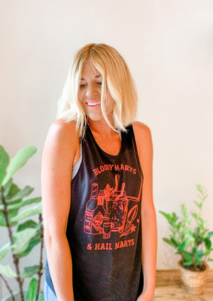 BLOODY MARYS & HAIL MARYS TANK BLACK/RED