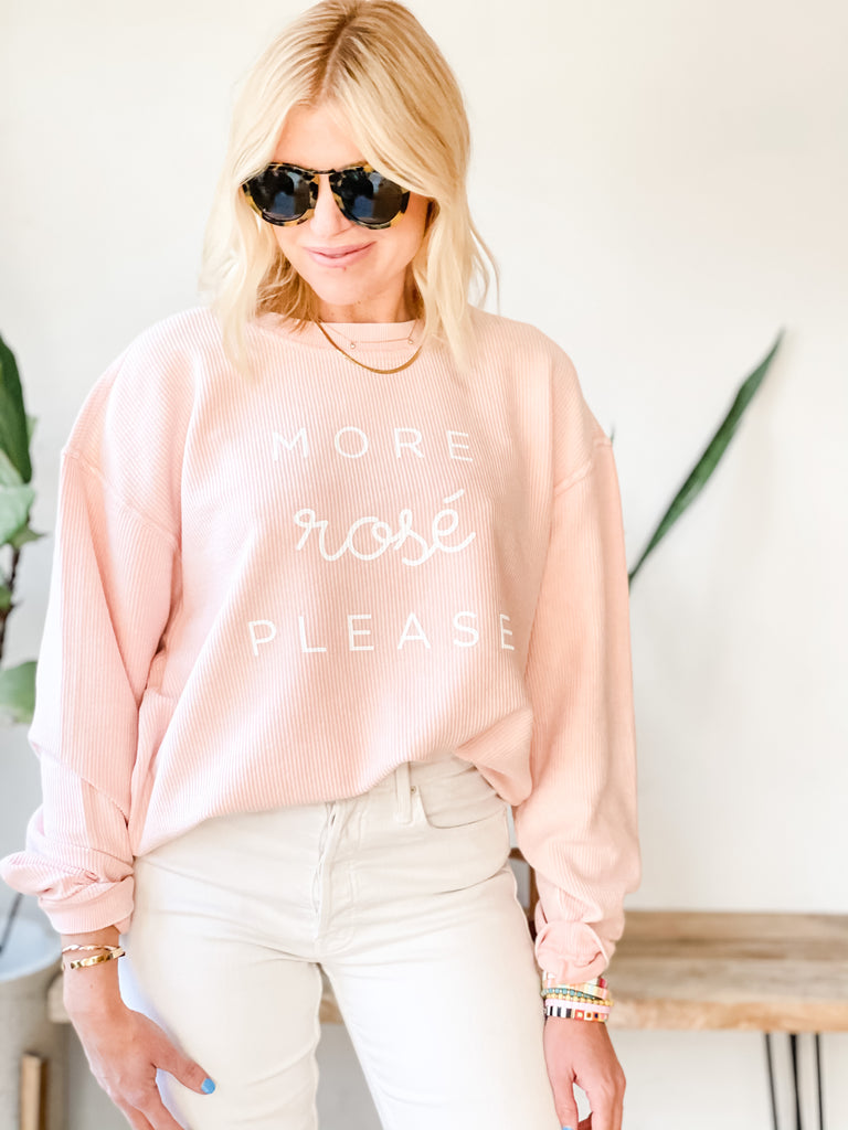 MORE ROSE PLEASE RIBBED SWEATSHIRT