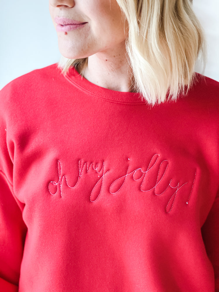 OH MY JOLLY EMBROIDERED FLEECE