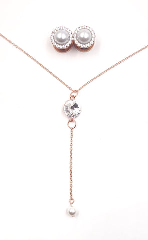 Pearl & Swarovski Crystal Necklace and Plug Set
