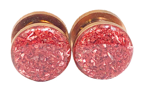 Blush Rose Crushed Glass Plugs