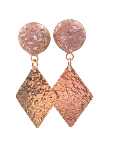 Soft Pink Crushed Glass Hammered Diamond Dangle Plugs - Defiant Jewelry