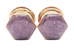 Purple Shimmer Geometric Hexagon Plugs