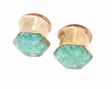 Island Blue Crushed Shell Hexagon Plugs - Defiant Jewelry