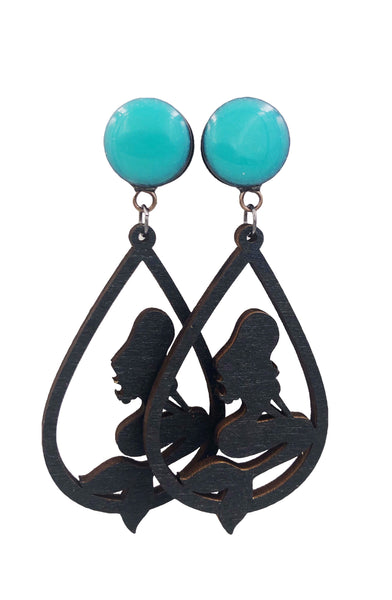 Ocean Blue Sparkle with Wood Mermaid Dangle Plugs