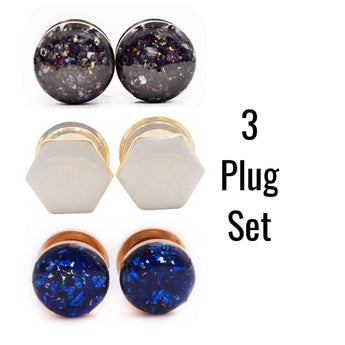 Black Shell, Frosted Hexagon, Sapphire Glass 3 Plug Set