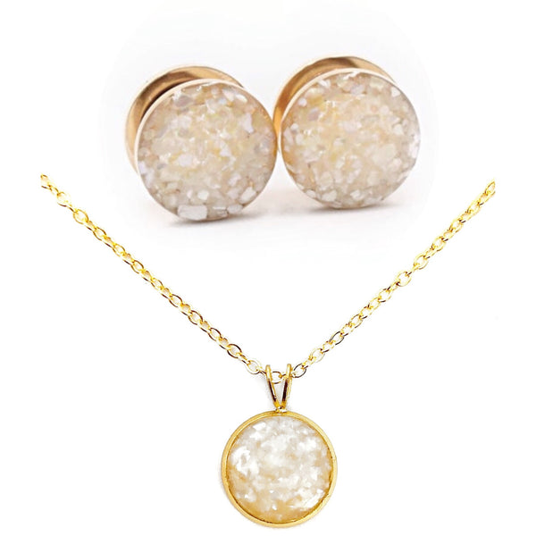 Pearl Crushed Shell Plugs and Necklace Set