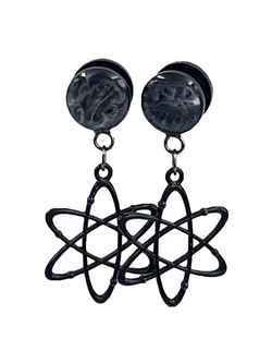 Smokey Marble Atom Dangle Plugs - Defiant Jewelry