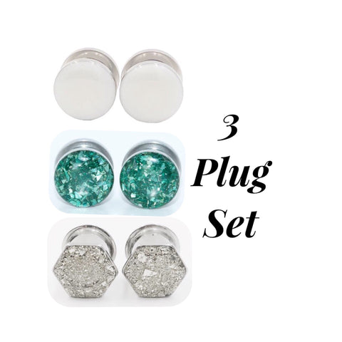 3 Plugs Set - Frosted Pearl / Green Crushed Glass / Silver Glass Hexagon - Defiant Jewelry