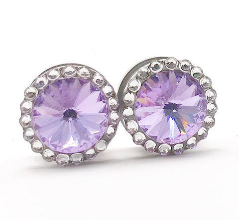 Light Violet Purple Swarovski Crystal Plugs - Defiant Jewelry