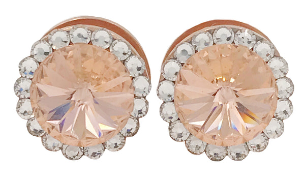 Light Peach Swarovski Crystal Plugs