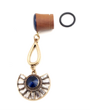 Royal Blue Shimmer Wood Dangle Plugs with Gold Gem Drop