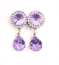Light Violet Swarovski Crystal Teardrop Dangle Plugs - Defiant Jewelry