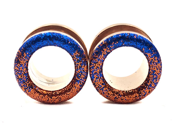 Sapphire and Copper Ombré Raw Sparkle Tunnel Plugs