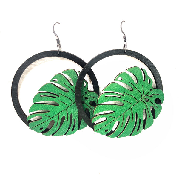 Wood Monstera Leaf Dangle Hoop Earrings