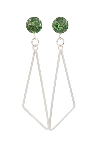 Forest Green Triangle Dangle Earrings - Defiant Jewelry
