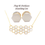 Frosted Pearl Hexagon Plugs and Necklace Set - Defiant Jewelry