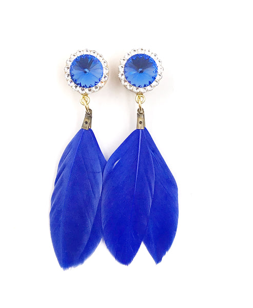 Sapphire Swarovski Crystal Feather Dangle Plugs - Defiant Jewelry