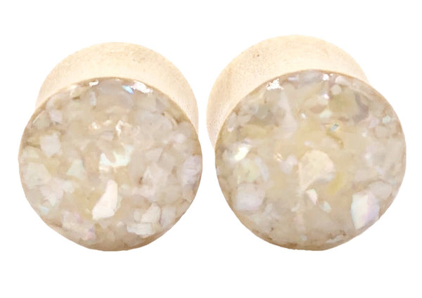 Crushed Pearl Shell Wood Plugs