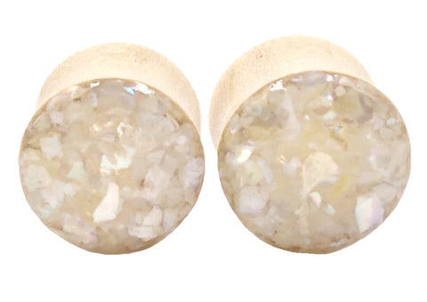 Crushed Pearl Shell Wood Plugs - Defiant Jewelry