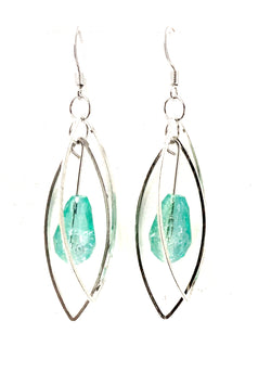 Island Blue Green Marquis Gem Dangle Earrings - Defiant Jewelry