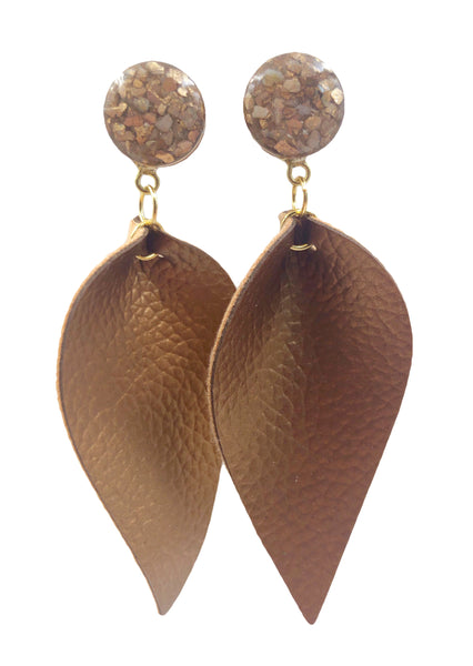 Gold Crushed Shell Suede Leaf Dangle Plugs