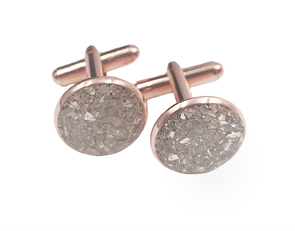 Silver Crushed Glass Rose Gold Cufflinks