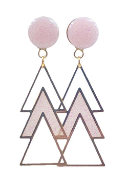 Fairy Tale Pink Sparkle Triple Triangle Dangle Plugs