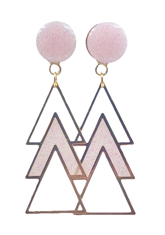 Fairy Tale Pink Sparkle Triple Triangle Dangle Plugs - Defiant Jewelry