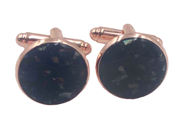 Black Iridescent Crushed Shell Cufflinks