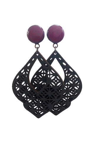 Deep Purple Gloss Chandelier Wood Dangle Plugs - Defiant Jewelry