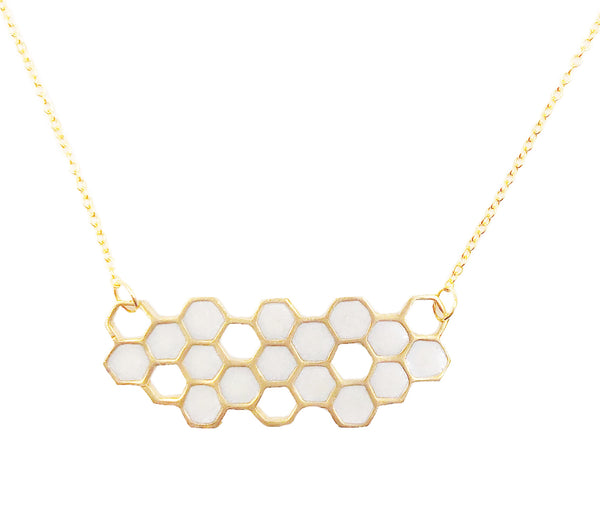 Frosted Pearl Honeycomb Necklace
