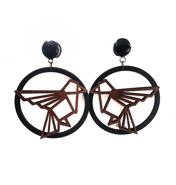 Black and Brown Geometric Bird Hoop Wood Dangle Plugs