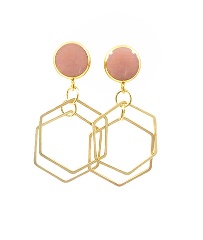 Nude Blush Geometric Dangle Earrings - Defiant Jewelry