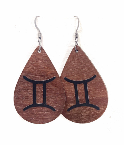 Custom Zodiac Wood Teardrop Dangle Earrings - Defiant Jewelry