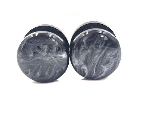 Smokey Black and White Marbled Plugs - Defiant Jewelry