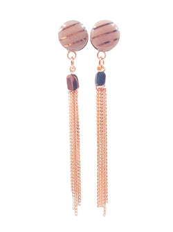 Blush Nude Metallic Stripe with Chain Drop Dangle Plugs