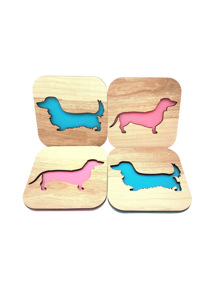 Custom Dog Breed Cherry Wood Coasters
