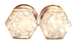 Pearl Crushed Shell Hexagon Plugs - Defiant Jewelry