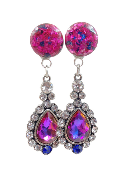 Pink and Sapphire Glass Rhinestone Drop Dangle Plugs