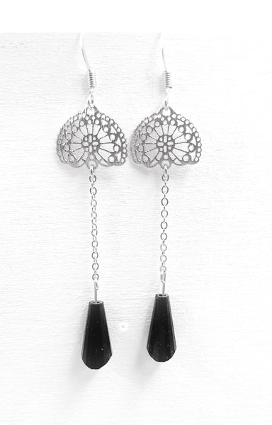 Intricate Chain Crystal Bead Drop Dangle Earrings