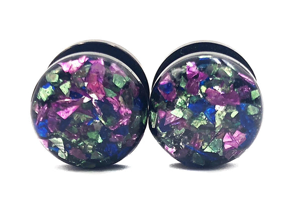 Lilac, Sapphire, and Light Green Crushed Glass Plugs